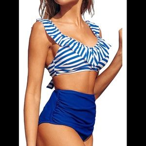 CupShe Blue & White Frinch Bikini Swimsuit